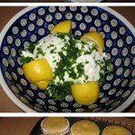 Creamy Yogurt Cheese Flavored With Lemony Parsley and Corn Muffins