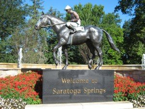 Greetings at the top of Saratoga Springs' Congress Street Park