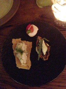 Delicious Mouthfuls: (left) cod rillette, (top) beetroot crisp, (right) rabbit confit