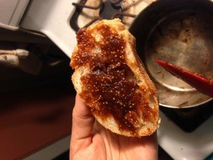 Mustard-fig jam: delicious & not too sweet topping on warm bread