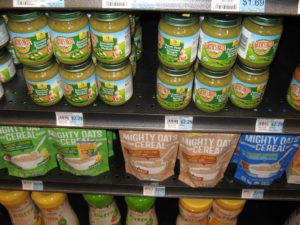 Baby food for sale at Honest Weight: Earth's Best baby food in jars & its Whole Grain Rice Cereal and Oatmeal Cereal & Little Duck Organics' Mighty Oats Cereals