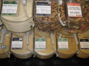 Organic whole wheat couscous for sale at fantastic bulk food department at Honest Weight