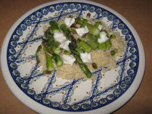 Beautiful plate of couscous and spring asparagus
