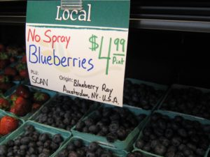 Blueberry Ray's no-spray berries for sale at Honest Weight Food Co-op in Albany, NY