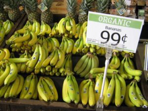 Organic and fair traded bananas from Ecuador and Peru for sale at the Honest Weight