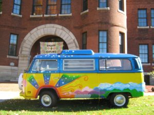 Colorful old VW bus greets visitors to exhibit on 1970s Vermont counterculture