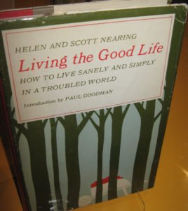 Many books & posters from the era on display including Helen & Scott Nearing's Living the Good Life